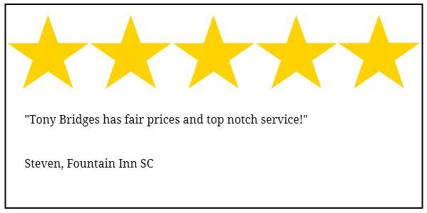 Fountain Inn tree service 5 star review